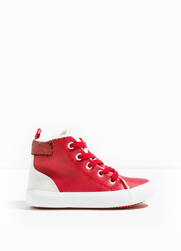 High-top sneakers with fur and glitter | OVS