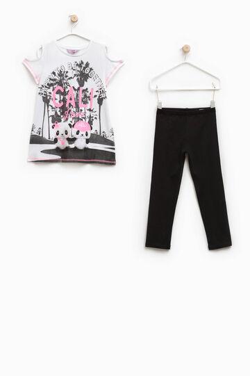 Completo t-shirt stampata e leggins