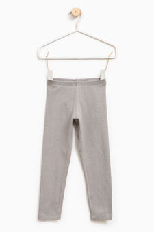 Solid colour stretch leggings, Grey Marl, hi-res