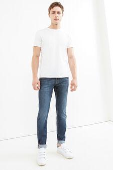 Used-effect slim-fit stretch jeans, Dark Wash, hi-res