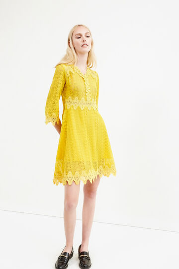 Short lace dress with crochet, Yellow, hi-res