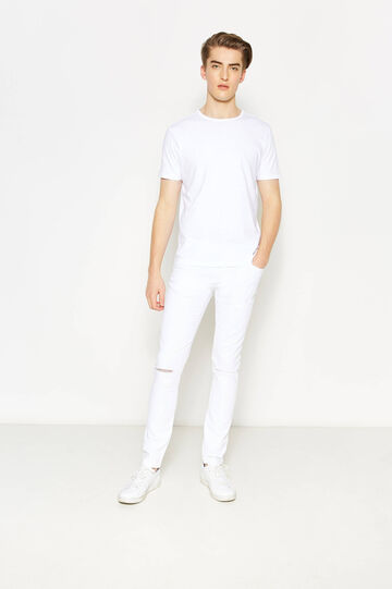 Stretch jeans with rips, White, hi-res