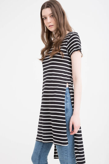 T-shirt in striped 100% viscose, Black, hi-res