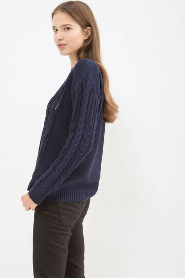Cotton blend knitted pullover, Navy Blue, hi-res