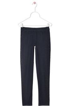 Rhinestone stretch leggings, Blue, hi-res