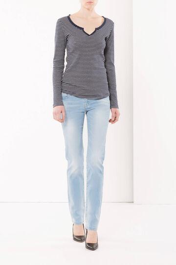 T-shirt in cotone, Blu/Naturale, hi-res