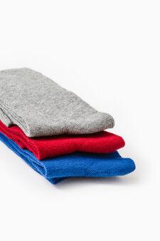 Three-pair pack long socks, Red, hi-res
