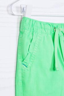 Solid colour 100% cotton Bermuda shorts, Neon Green, hi-res