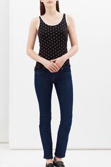 Stretch vest with contrasting trim., Black, hi-res