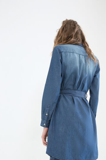 Worn-effect denim dress, Denim Blue, hi-res