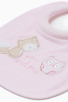 Two-pack embroidered bibs, Pink, hi-res