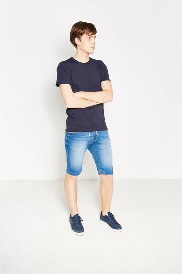 Solid colour 100% cotton T-shirt, Navy Blue, hi-res