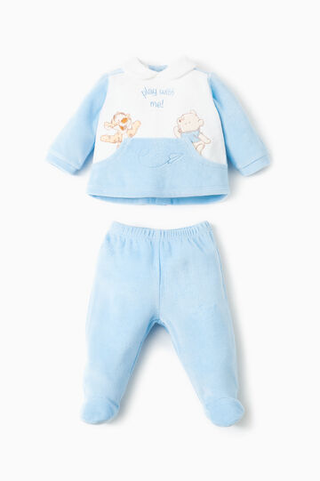 Completo t-shirt ghettina Winnie The Pooh, Bianco/Azzurro, hi-res
