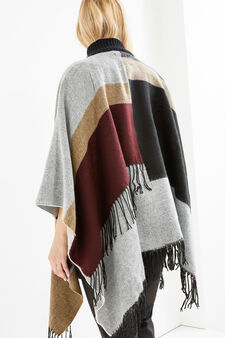 Curvy poncho with fringe and pattern, Brown, hi-res