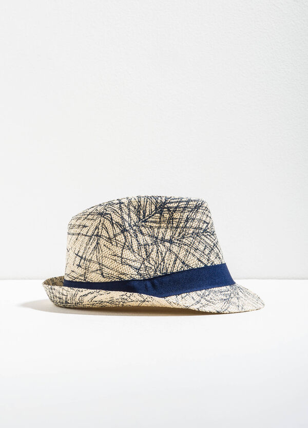 Patterned straw hat with wide brim | OVS
