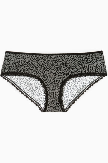 Stretch French knickers with animal pattern, White/Black, hi-res