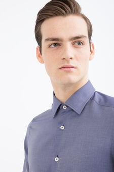 Camicia slim fit in cotone fantasia, Blu scuro, hi-res