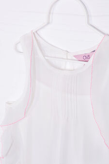 Vest top with ruffles and lace, White, hi-res