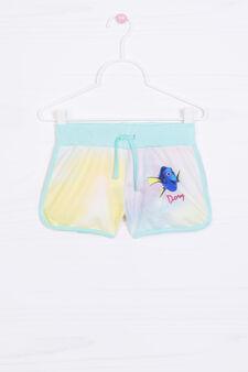 Shorts with print and drawstring, White, hi-res