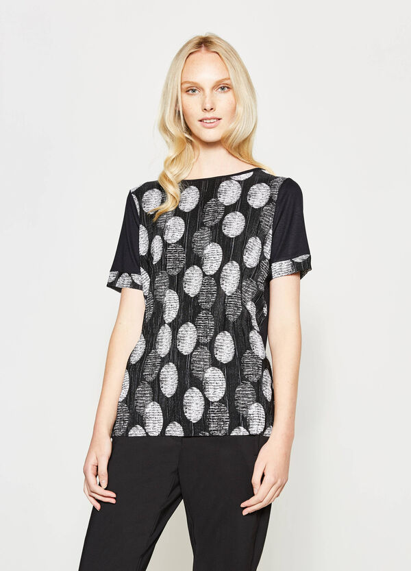 Polka dot T-shirt with pleating | OVS