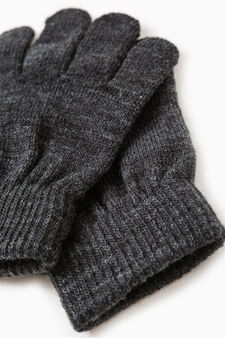 Solid colour knitted gloves, Black, hi-res