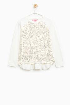 T-shirt cotone stretch con paillettes, Bianco latte, hi-res