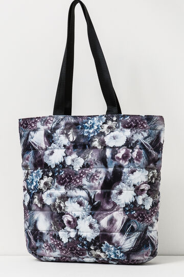 Quilted tote with floral pattern, White/Grey, hi-res