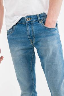 Straight-fit worn stretch jeans, Denim, hi-res