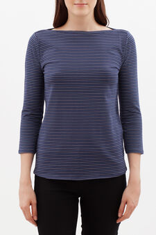 Stretch striped cotton T-shirt, Blue, hi-res