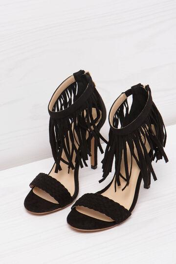 Sandals with heels and fringe, Black, hi-res