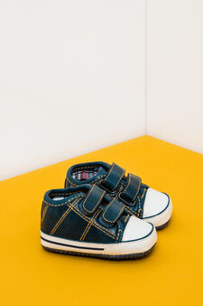 Sneakers with tartan lining, Teal Green, hi-res
