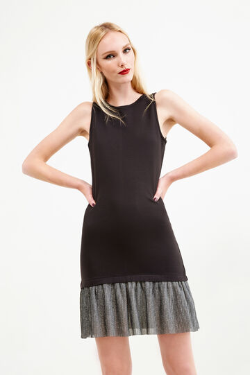 Sleeveless dress with glitter insert, Black/Grey, hi-res