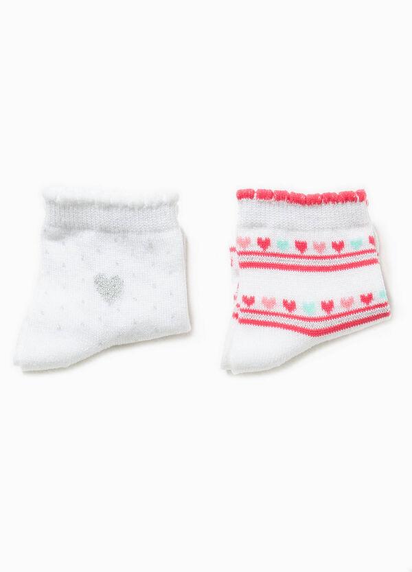 Set due paia di calze fantasia a pois | OVS