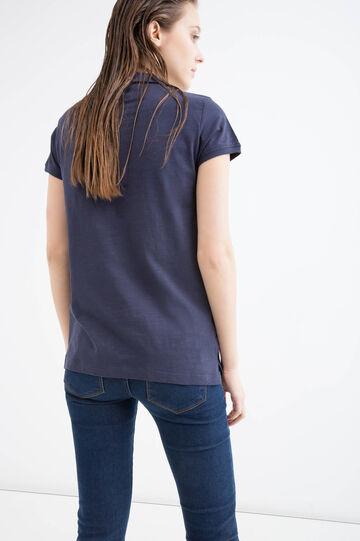 Polo cotone colletto arrotondato, Blu navy, hi-res