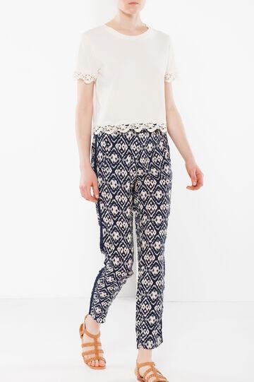 Pantaloni a vita alta con banda laterale, Bianco/Blu, hi-res