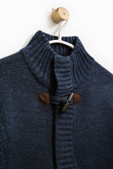 Knit cardigan with toggles, Blue Marl, hi-res
