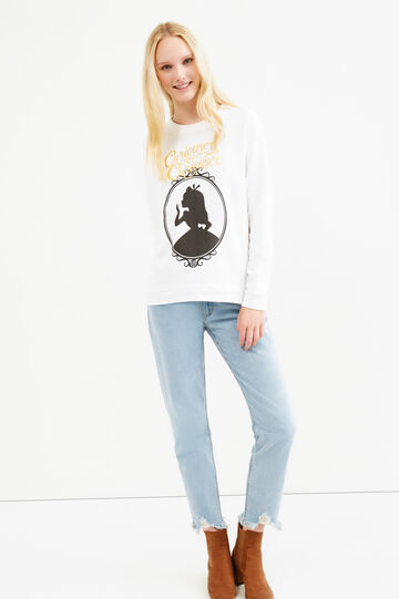 Alice in Wonderland print sweatshirt, White, hi-res