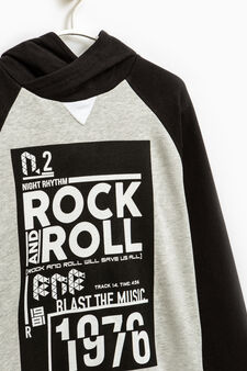 Printed sweatshirt in 100% cotton, Black/Grey, hi-res