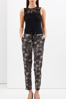 Patterned cigarette trousers, White/Black, hi-res