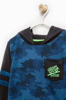 100% cotton sweatshirt with camouflage pattern, Black/Blue, hi-res