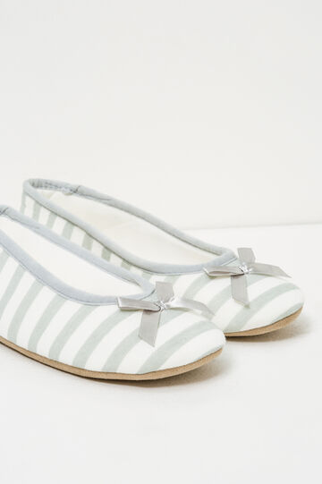 Ballerina flat slippers with striped pattern, White/Grey, hi-res