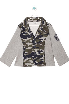 Fleece jacket with camouflage insert, Grey Marl, hi-res