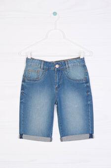 Denim Bermuda shorts with turn-ups, Blue, hi-res