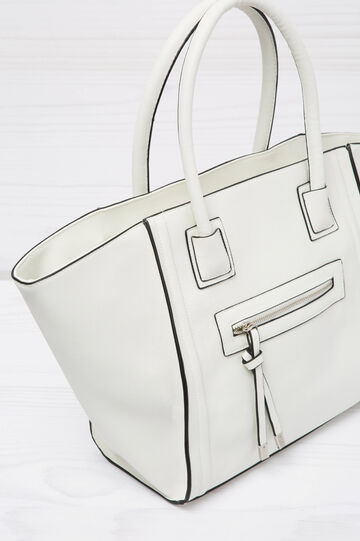 Shoulder bag with outside pocket, White, hi-res
