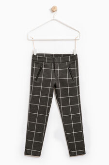 Pure cotton check trousers, Dark Grey, hi-res