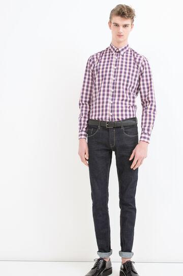 Camicia misto cotone a quadri, Blu/rosso, hi-res