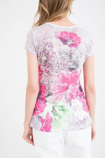 Floral print stretch T-shirt, Fuchsia, hi-res