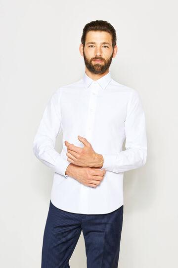 Camisa formal slim fit con cuello clásico, Blanco, hi-res