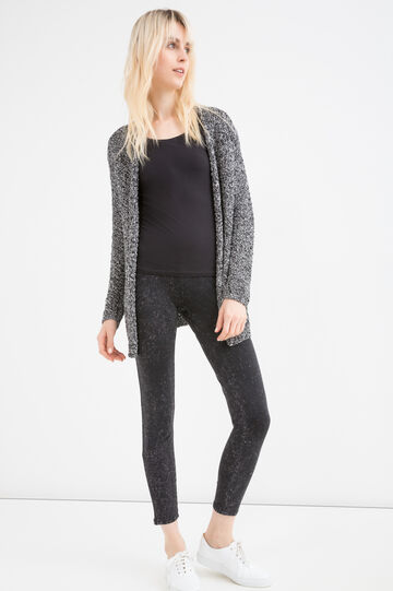 Leggings cotone stretch maltinti, Nero, hi-res