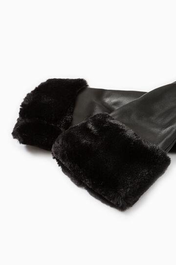 Solid colour hammered-effect gloves., Black, hi-res